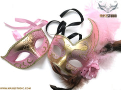 Venetian Gold Pink Masquerade Ball Mask Pair Costume Dress up Carnival