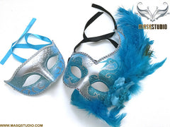 Venetian Silver Turquoise Masquerade Ball Mask with Feather Pair