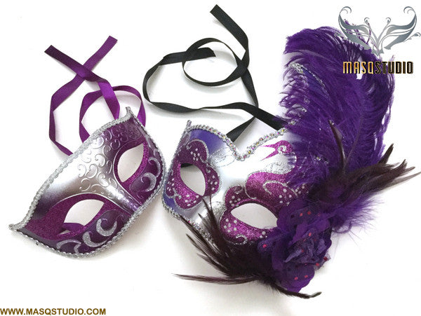 Venetian Silver Purple Masquerade Ball Mask with Feather Pair