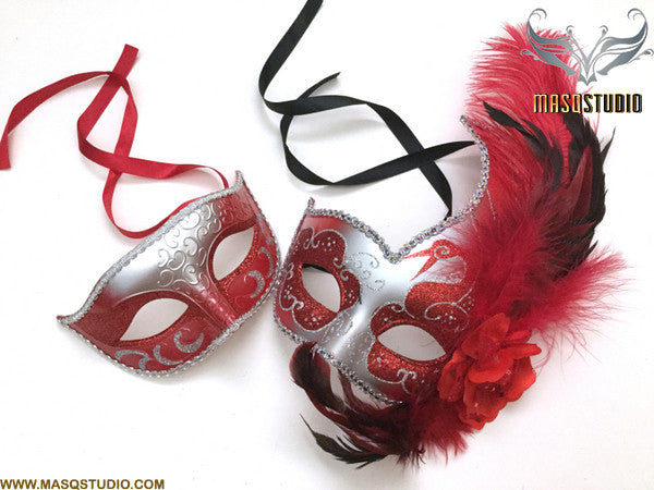Venetian Silver Red Masquerade Ball Mask with Feather Pair