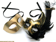 Venetian Feathered Black Gold Masquerade Ball Mask Pair