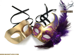 Venetian Feathered Purple Gold Masquerade Ball Mask Pair