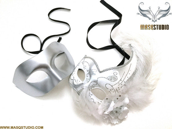 Couple Masquerade mask set Venetian Feathered Silver White Masquerade Ball Mask Pair