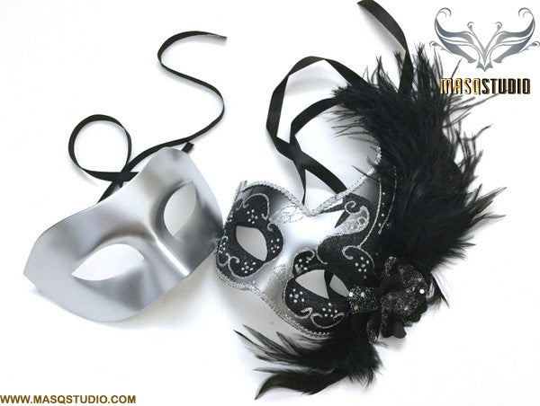 Venetian Feathered Silver Black Masquerade Ball Mask Pair