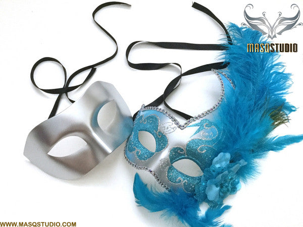 Venetian Feathered Silver Turquoise Masquerade Ball Mask Couple