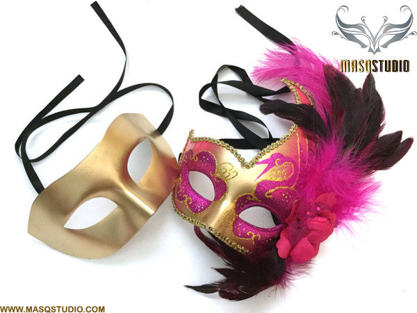 Venetian Feathered Hot Pink Fuchsia Masquerade Ball Mask Pair
