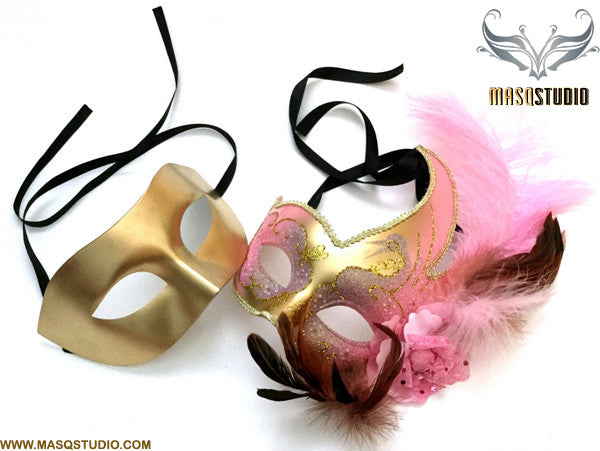 Venetian Feathered Pink Gold Masquerade Ball Mask Pair