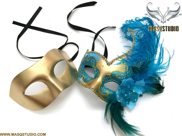 Venetian Feathered Gold Turquoise Masquerade Ball Mask Pair