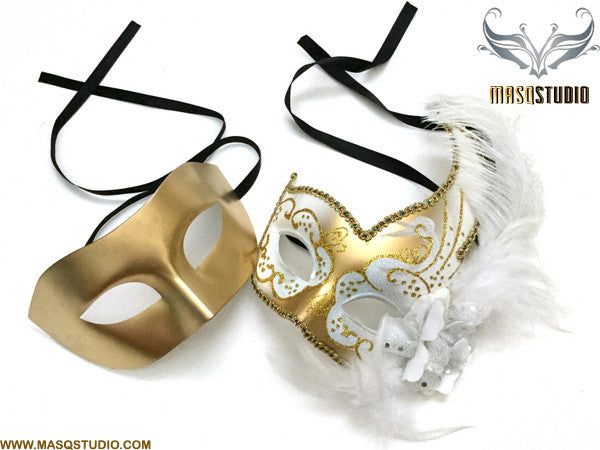 Venetian Feathered White Gold Masquerade Ball Mask Pair