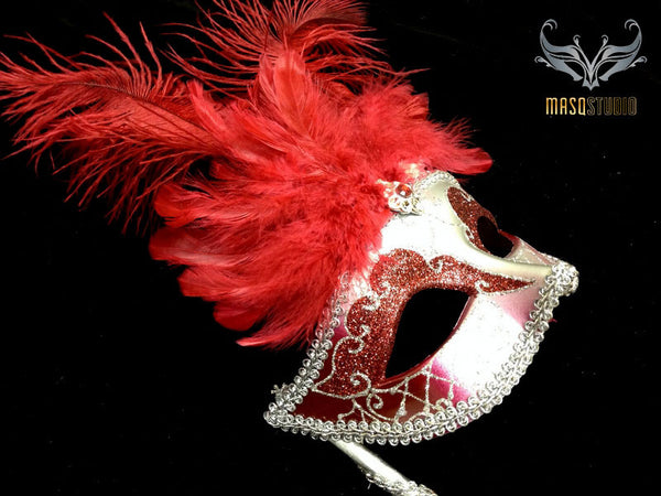 Venetian Style Ostrich tall Feather Silver Red Stick Mask