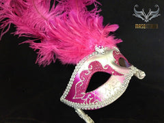Venetian Style Ostrich tall Feather Silver hot pink Stick Mask