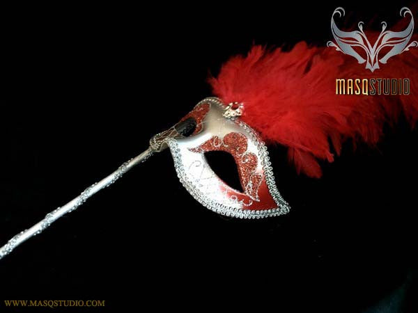 Venetian Style Ostrich tall Feather Silver Burgundy Red Stick Mask