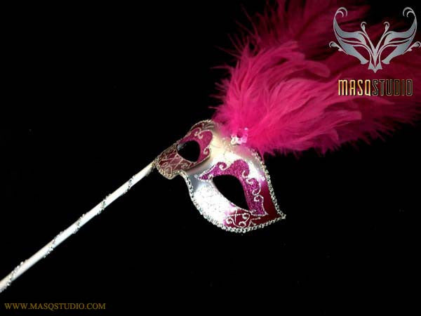 Venetian Style Ostrich tall Feather Silver Hot pink Fuchsia Stick Mask