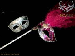 Fuchsia Silver Venetian Couple Show Girl Feather Masquerade Stick Mask Pair