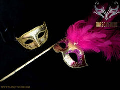 Fuchsia Gold Venetian Couple Show Girl Feather Masquerade Stick Mask Pair