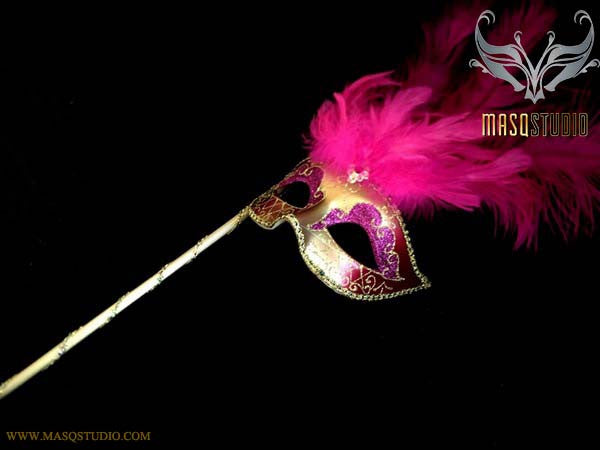 Venetian Style Ostrich tall Feather Gold Hotpink Fuchsia Stick Mask