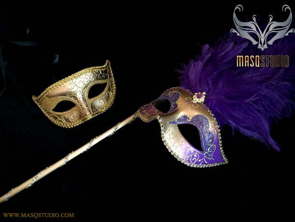 Purple Gold Venetian Couple Show Girl Feather Masquerade Stick Mask Pair