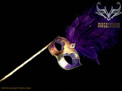 Venetian Style Ostrich tall Feather Gold Purple Stick Mask