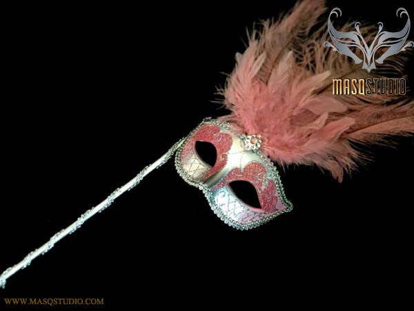 Venetian Style Ostrich tall Feather Silver Baby Pink Stick Mask