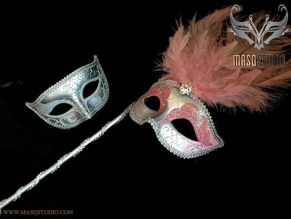 Baby Pink Silver Venetian Couple Show Girl Feather Masquerade Stick Mask Pair