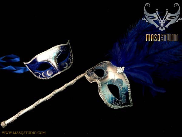 Royal Blue Silver Venetian Couple Show Girl Feather Masquerade Stick Mask Pair