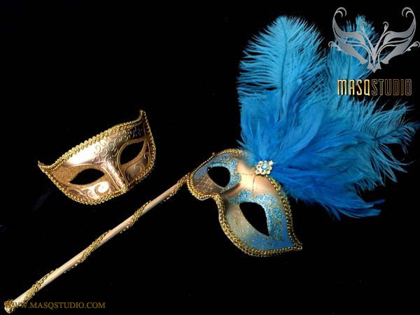 Turquoise Gold Venetian Couple Show Girl Feather Masquerade Stick Mask Pair