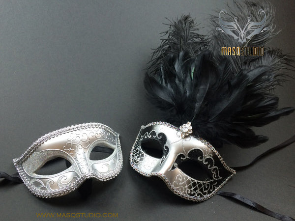 Fifty shades of Grey Couple Masquerade mask Pair Black Silver