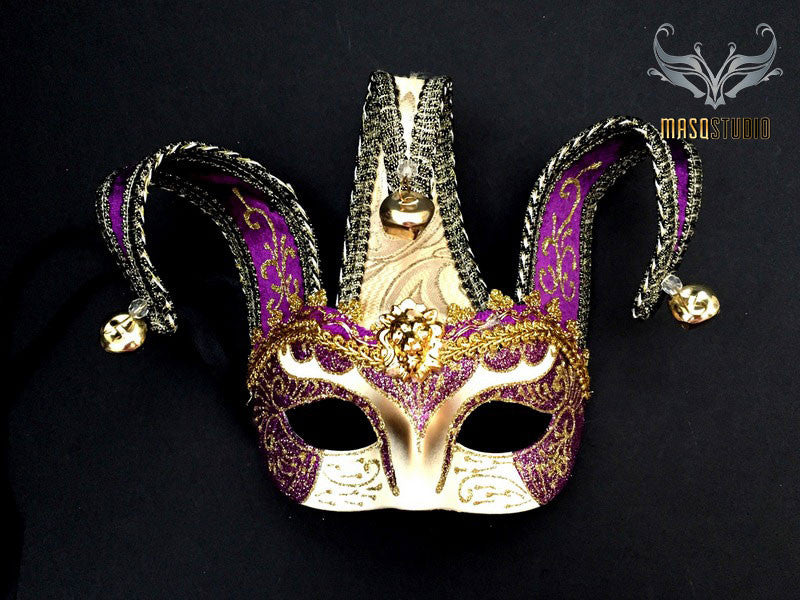 Jolly Jester full face masquerade mask in purple and gold
