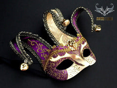 Jolly Jester full face masquerade mask in purple and gold 2