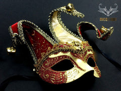 Jolly Jester full face masquerade mask in red and gold