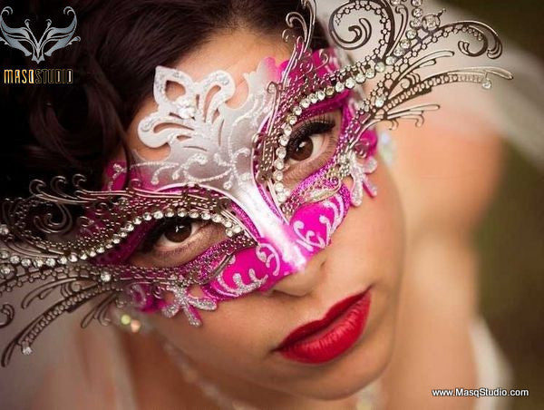 Filigree metal masquerade mask Princess Silver Fuchsia