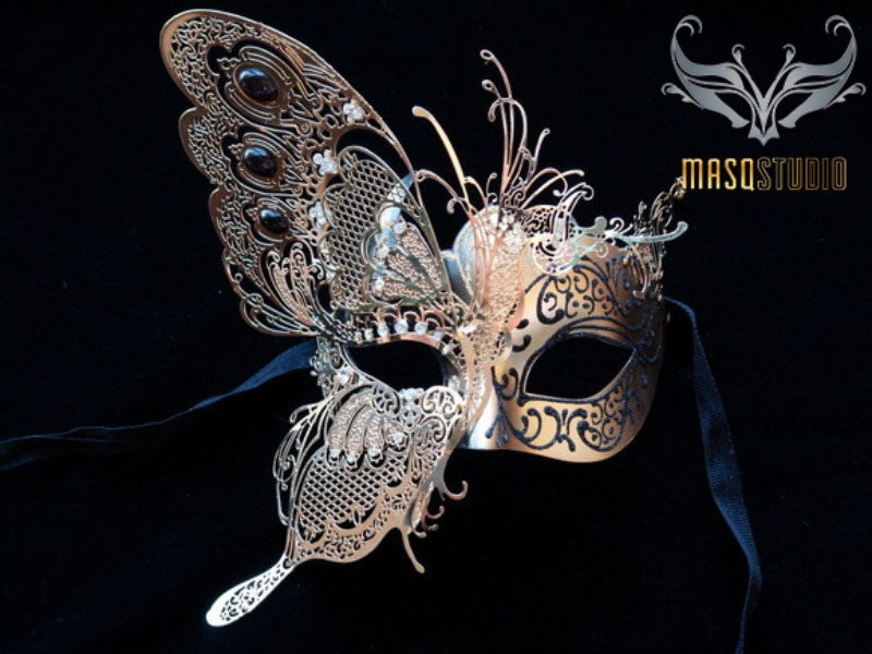 Luxury Metal Laser Cut Masquerade Butterfly mask in Blue and Gold