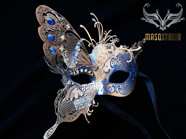 Luxury Metal Laser Cut Mask Half Butterfly - Light Blue and Gold