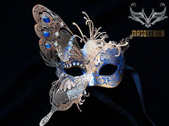 Luxury Metal Laser Cut Masquerade Butterfly mask in Light Blue and Gold