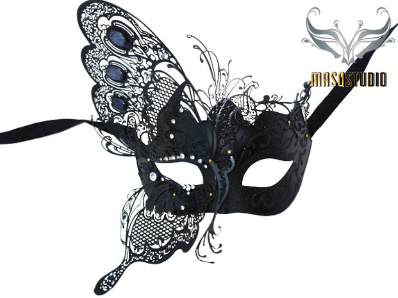 Luxury Metal Laser Cut Masquerade Butterfly mask in Black