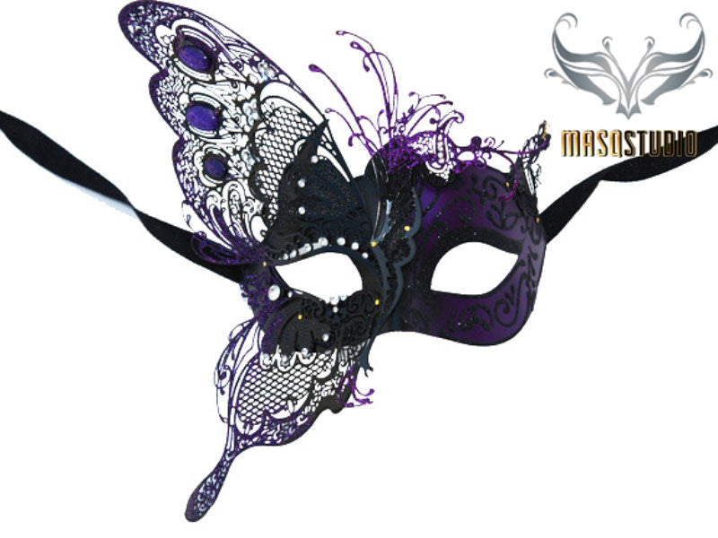 Luxury Metal Laser Cut Masquerade Butterfly mask in Purple and Black