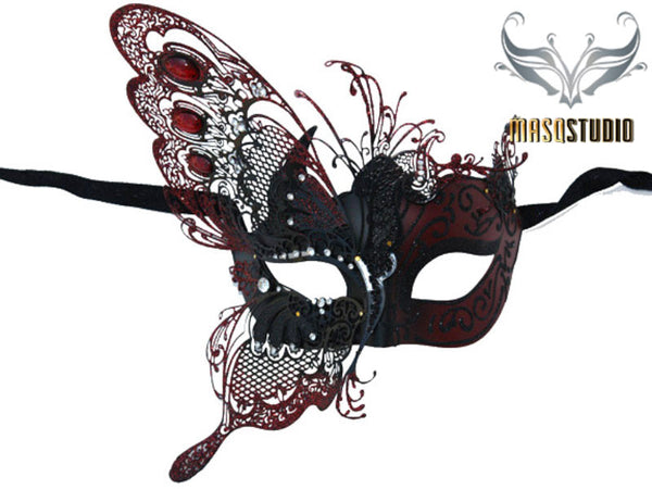 Luxury Metal Laser Cut Mask Half Butterfly - Red and Black