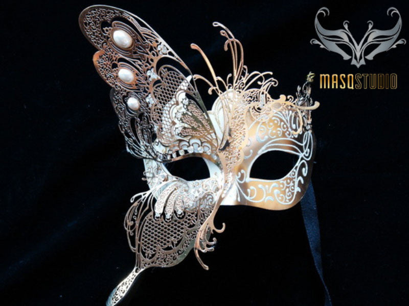 Luxury Metal Laser Cut Masquerade Butterfly mask in White and Gold