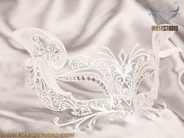 Filigree Metal Kitty White Cat Mask