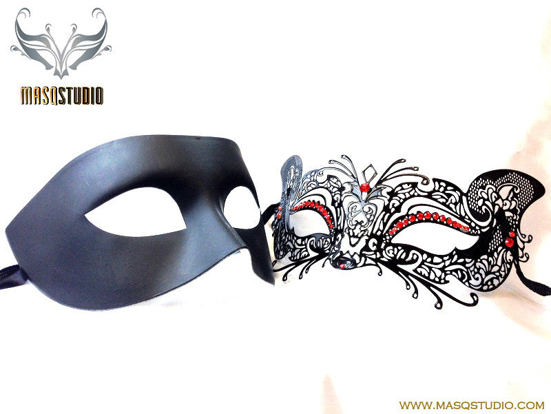 Luxury Venetian Couple Cat Black Red Masquerade Mask Set
