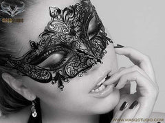 Stacy keiblers Laser cut metal Black Masquerade Mask