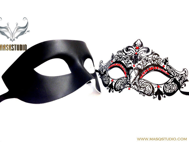 Luxury Venetian Couple Black Red Crystals Masquerade Mask Set - Stacy