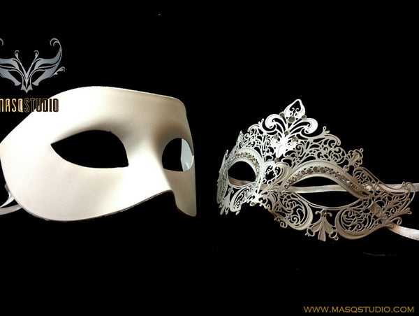 Luxury Venetian Couple White Masquerade Mask Set - Stacy