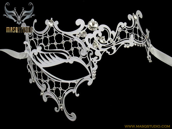 Metal half white phantom mask Clear Crystals