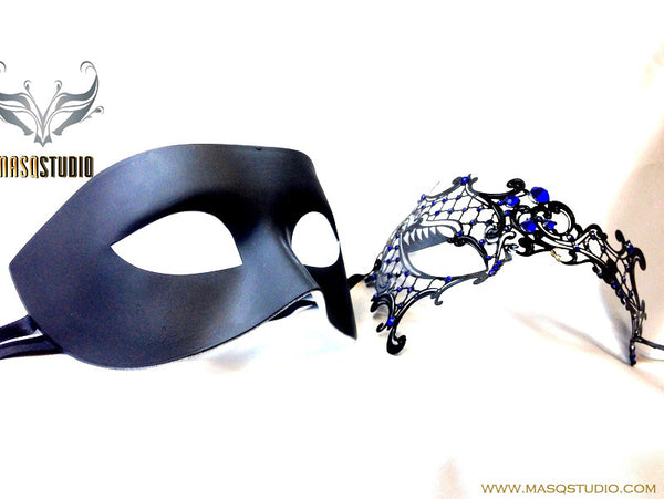 Luxury Venetian Couple Black Blue Phantom Masquerade Mask Set