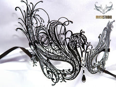 Luxury Metal Laser Cut Masquerade Swan mask in Black