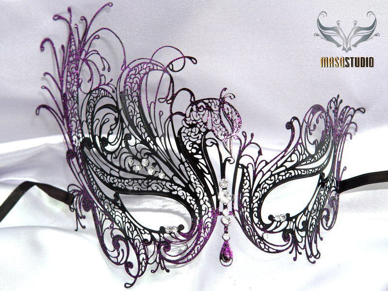 Filigree laser cut metal Black Purple swan Masquerade Mask