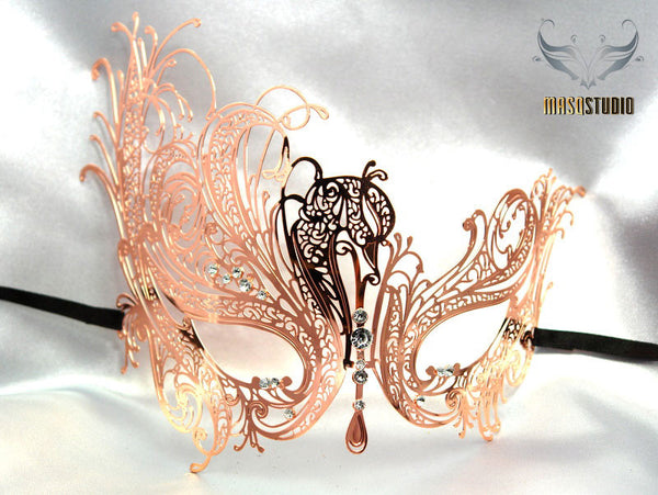 Filigree laser cut metal Champagne Rose gold swan Masquerade Mask - Limited