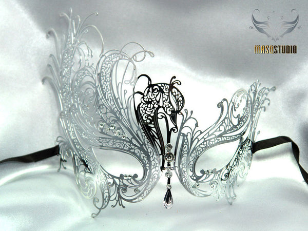 Filigree laser cut metal silver swan Masquerade Mask - Limited