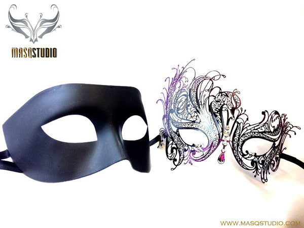 Luxury Venetian Couple Masquerade Mask Set - Black Purple Glitter Swan